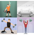 dumbell banner set cartoon style vector image
