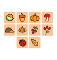 flat color autumn season icon set vector image vector image