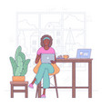 freelancer woman work from home vector image vector image