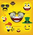 funny happy yellow emojismiley emoticons vector image vector image
