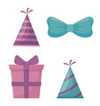 gift box present and accessories of party vector image vector image