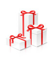 gift box set of three with red color bow knot and vector image vector image