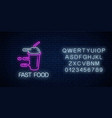 glowing neon fast food sign with hurrying vector image vector image