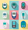 glucose meter sugar test icons set flat style vector image vector image