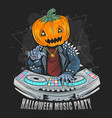 halloween pumpkin head dj music party with punk ro vector image vector image