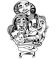hand drawn asians buddhists people cartoon vector image vector image