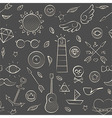 Hand drawn hipster seamless pattern over brown vector image vector image
