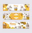honey banners vintage hand drawn bee and honeyed vector image vector image