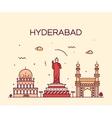 Hyderabad skyline linear vector image vector image