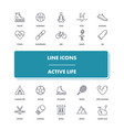 line icons set active life vector image vector image