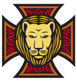 lion head and iron cross in tattoo style vector image vector image