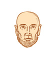 male bald head bearded etching