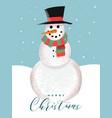 merry christmas card funny snowman cartoon vector image vector image