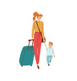 mom and son walk hand in hand vector image vector image