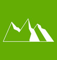 mountains icon green vector image vector image
