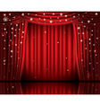 Open Red Curtains with Neon Lights vector image
