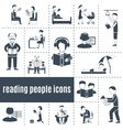 Reading People Icons Set vector image vector image