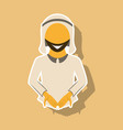 realistic paper sticker on theme arabic business vector image vector image