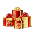 Red and gold gift boxes vector image vector image