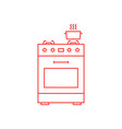 red thin line gas stove icon vector image vector image