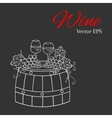 Red wine glass and white wine glass grapes on vector image vector image
