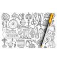 retro vintage accessories doodle set vector image vector image
