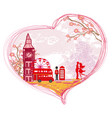 romantic couple in london card vector image vector image