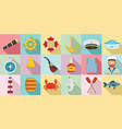 sailor icons set flat style vector image vector image