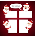 Set of Cartoon Santa Clauses Behind a White Empty vector image vector image