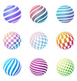 set of minimalistic shapes halftone color spheres vector image