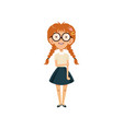 shy schoolgirl with happy face expression nerd vector image