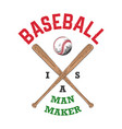 sketch baseball ball and bat with typography vector image vector image