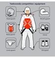 Taekwondo Korean martial art competition equipment vector image vector image