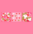 valentine day pink gold glitter heart pattern set vector image