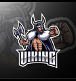 viking mascot gaming logo design holding axe vector image