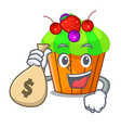 with money bag cupcake shape cartoon the delicious vector image vector image