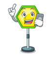 with phone character traffic sign regulatory and vector image