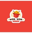 wok in the box logo template Asian food vector image vector image