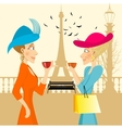 two rich women looking at each other vector image