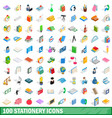 100 stationery icons set isometric 3d style vector image vector image