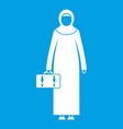 arabic woman icon white vector image vector image