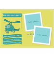 Baby Boy Arrival Card with Photo Frame vector image vector image