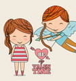 be my valentine cute cupid and little girl vector image