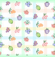 berries seamless pattern with striped plaid vector image vector image