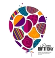 birthday card with balloons in style of vector image vector image