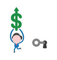 businessman character unlock keyhole with key vector image