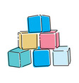 cartoon pyramid colored cubes toy cubes vector image