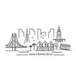 city san francisco in outline style on white vector image