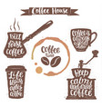 coffee lettering in cup grinder pot shapes vector image vector image