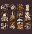 coffee shop logo and emblem cacao beans grains vector image vector image